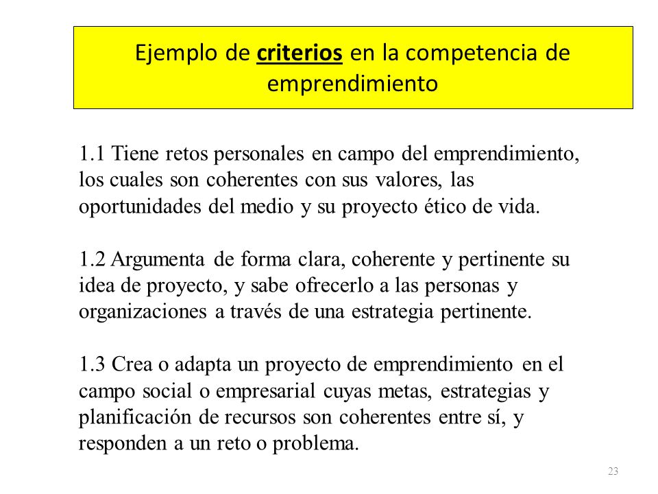 Ejemplo de criterios en la competencia de emprendimiento
