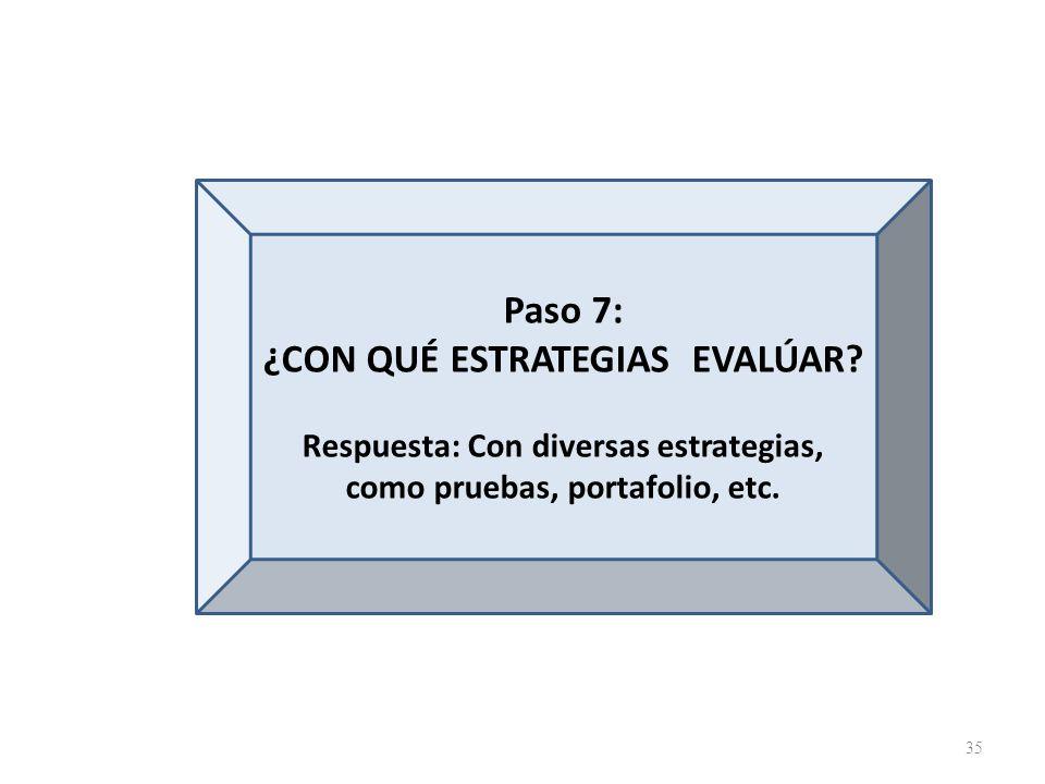 Paso 7: ¿CON QUÉ ESTRATEGIAS EVALÚAR