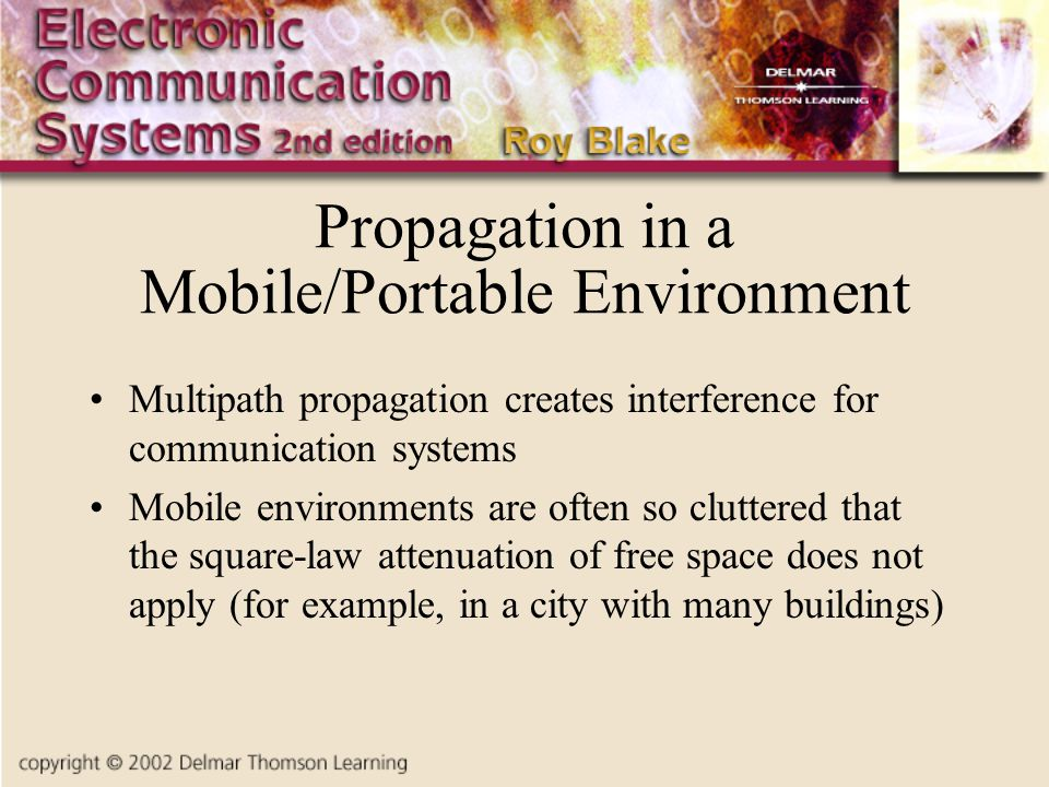Propagation in a Mobile/Portable Environment