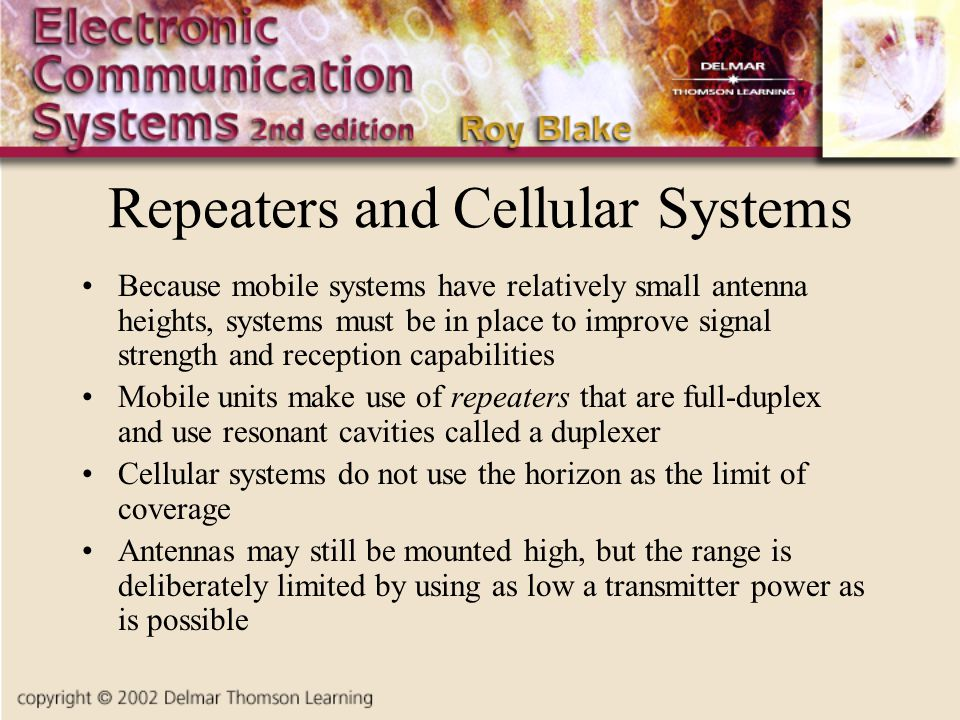 Repeaters and Cellular Systems