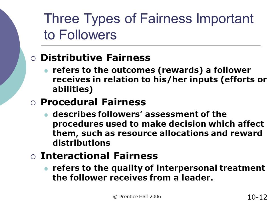 Three Types of Fairness Important to Followers