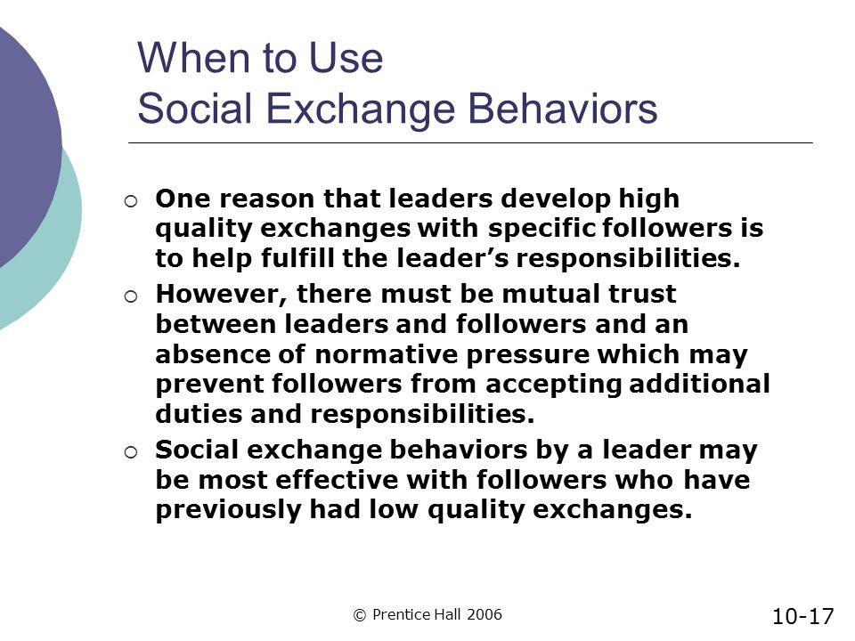 When to Use Social Exchange Behaviors