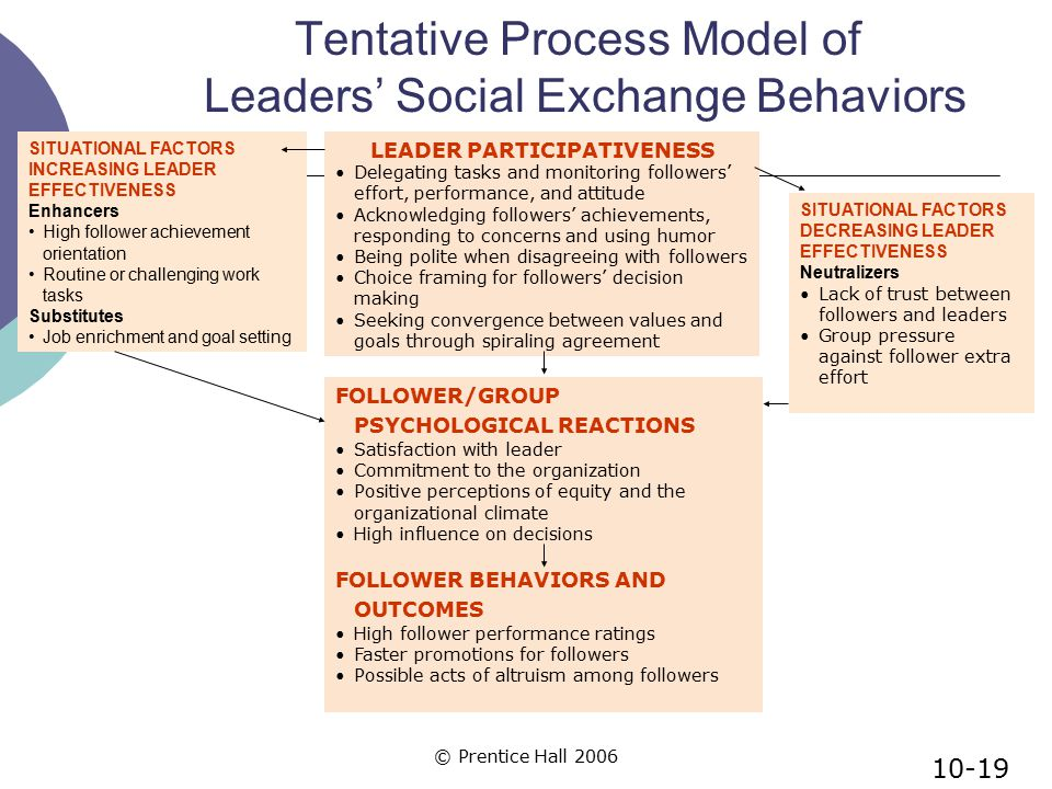 Tentative Process Model of Leaders' Social Exchange Behaviors