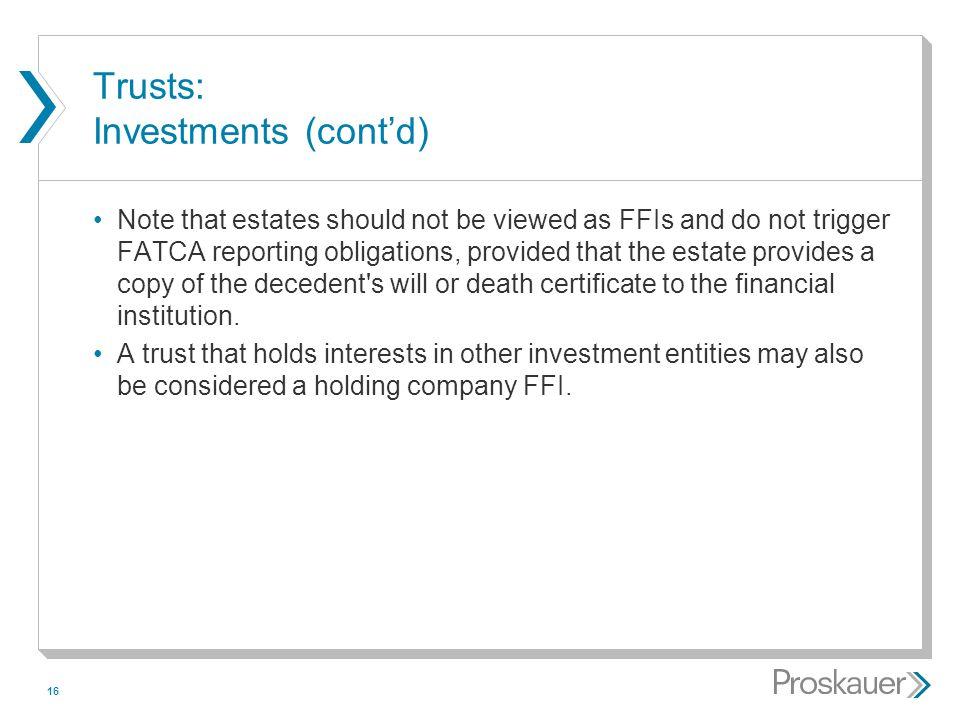 Trusts: Investments (cont'd)