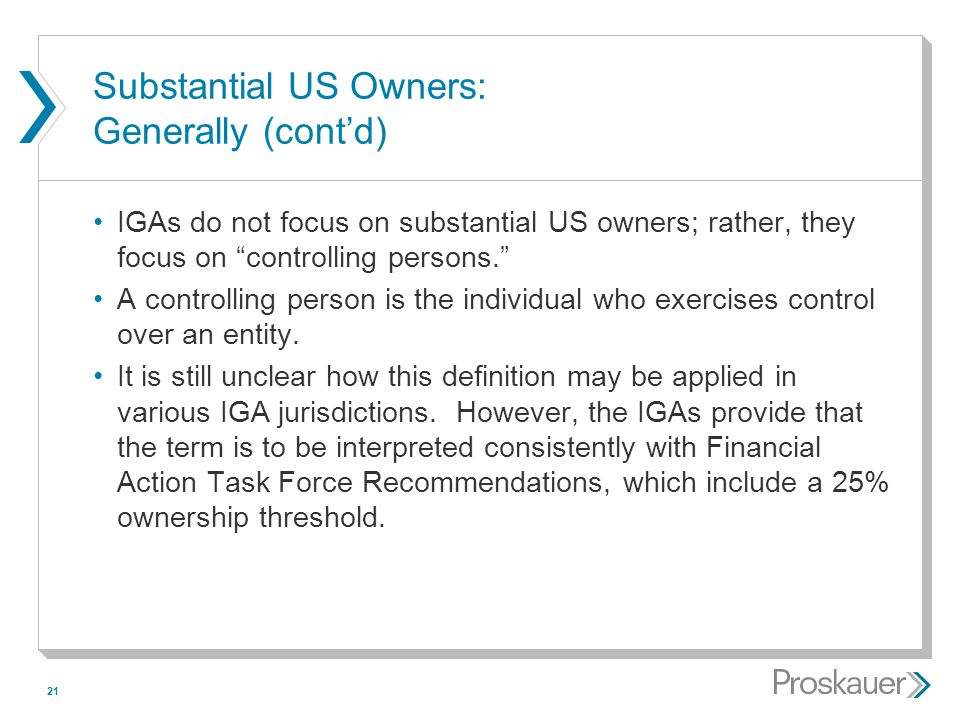 Substantial US Owners: Generally (cont'd)