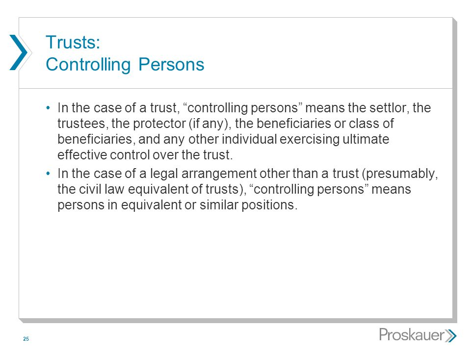 Trusts: Controlling Persons