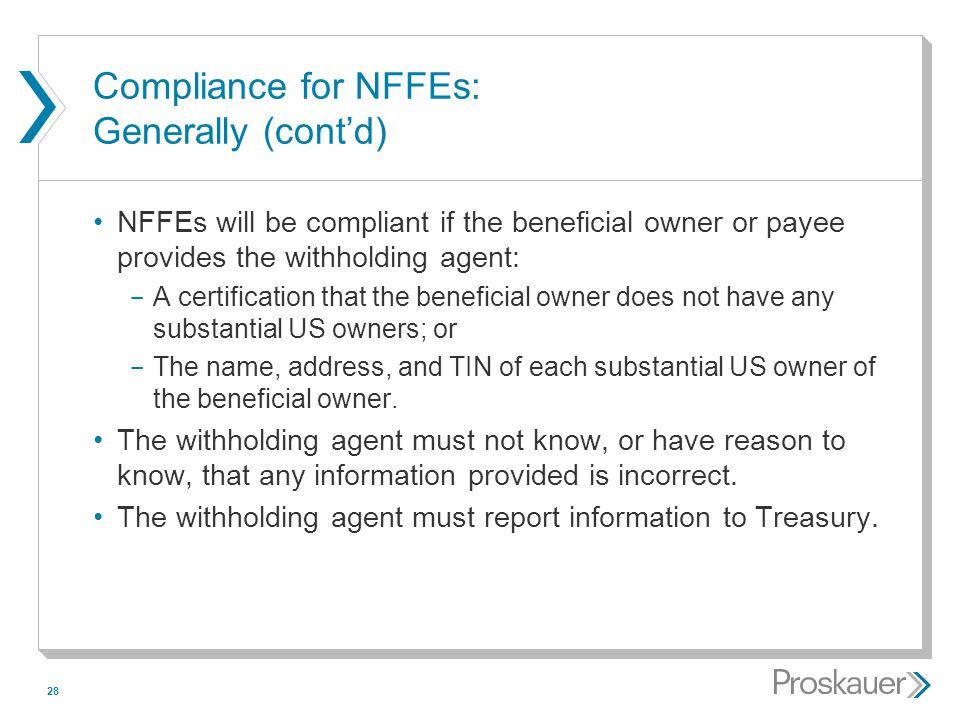 Compliance for NFFEs: Generally (cont'd)