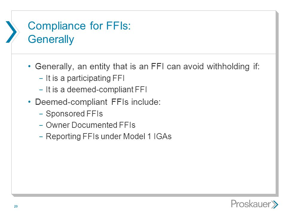 Compliance for FFIs: Generally