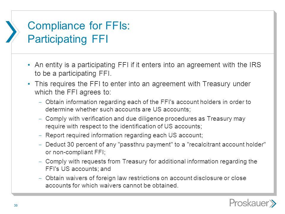 Compliance for FFIs: Participating FFI