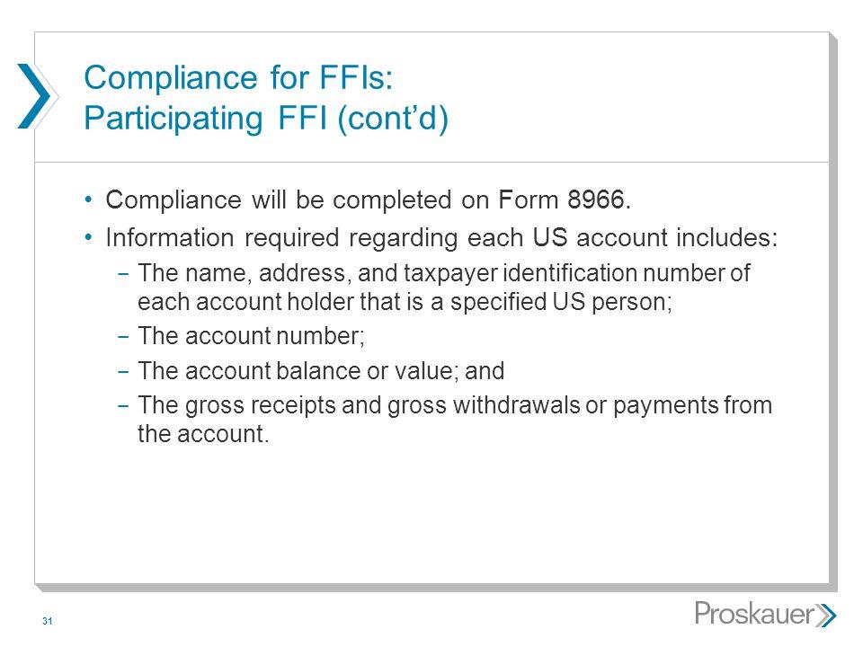 Compliance for FFIs: Participating FFI (cont'd)