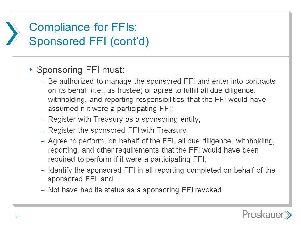 Compliance for FFIs: Sponsored FFI (cont'd)