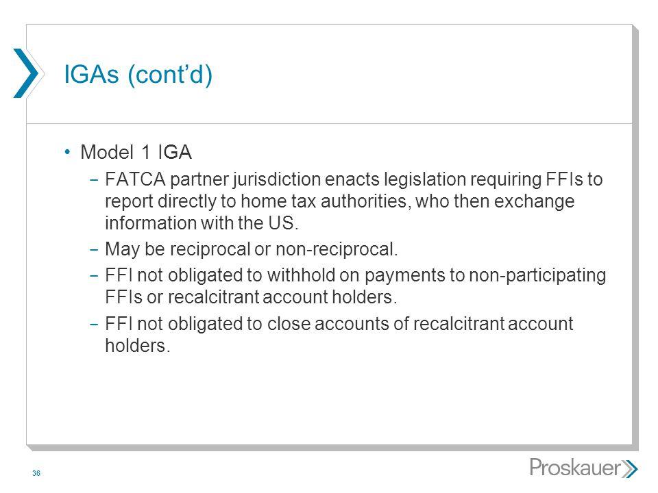IGAs (cont'd) Model 1 IGA