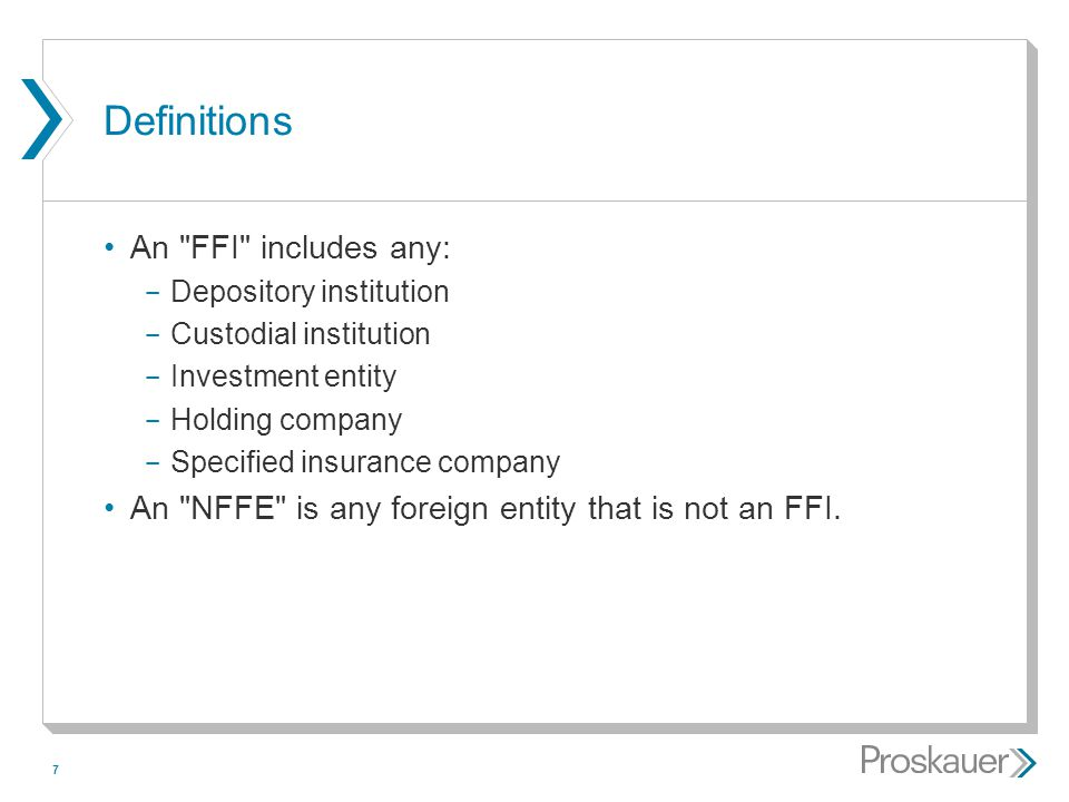 Definitions An FFI includes any:
