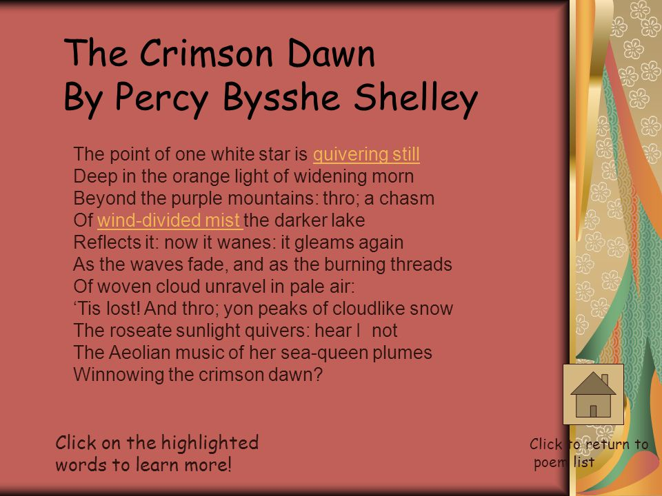 The Crimson Dawn By Percy Bysshe Shelley