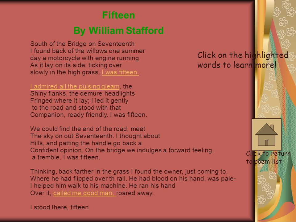 Fifteen By William Stafford