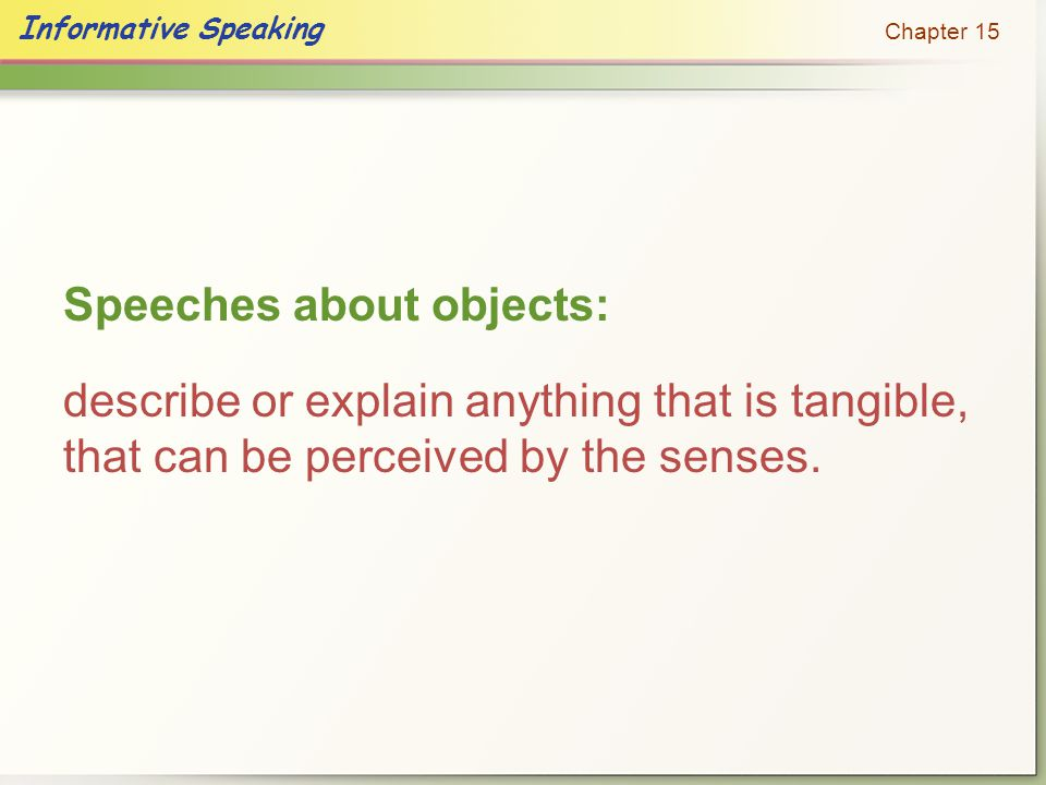 Speeches about objects: