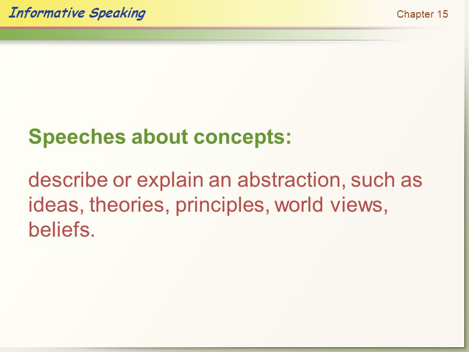 Speeches about concepts: