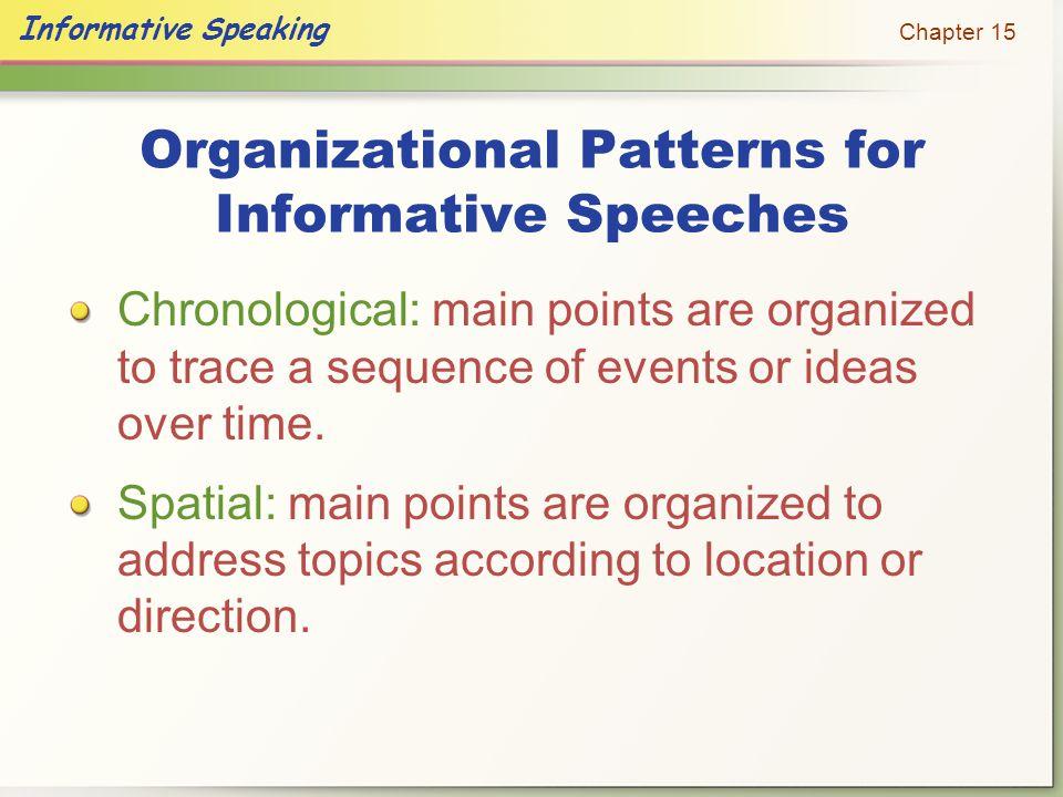 Organizational Patterns for Informative Speeches
