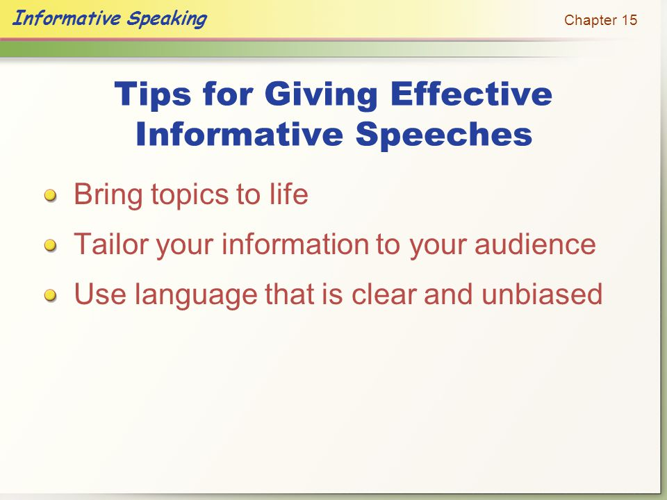 Tips for Giving Effective Informative Speeches
