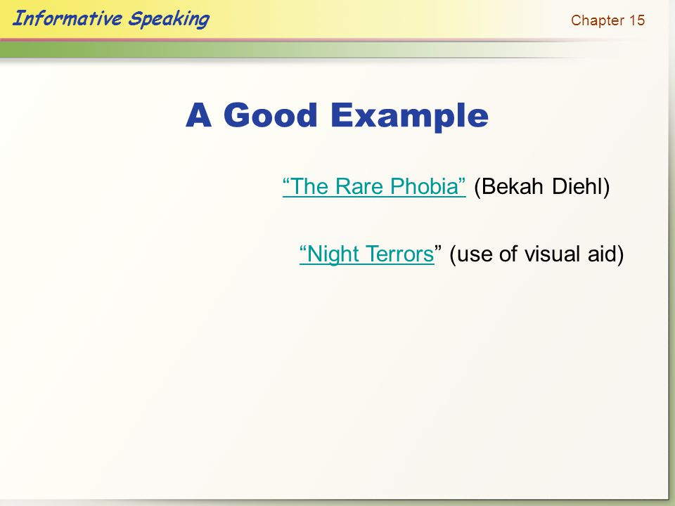 A Good Example The Rare Phobia (Bekah Diehl)