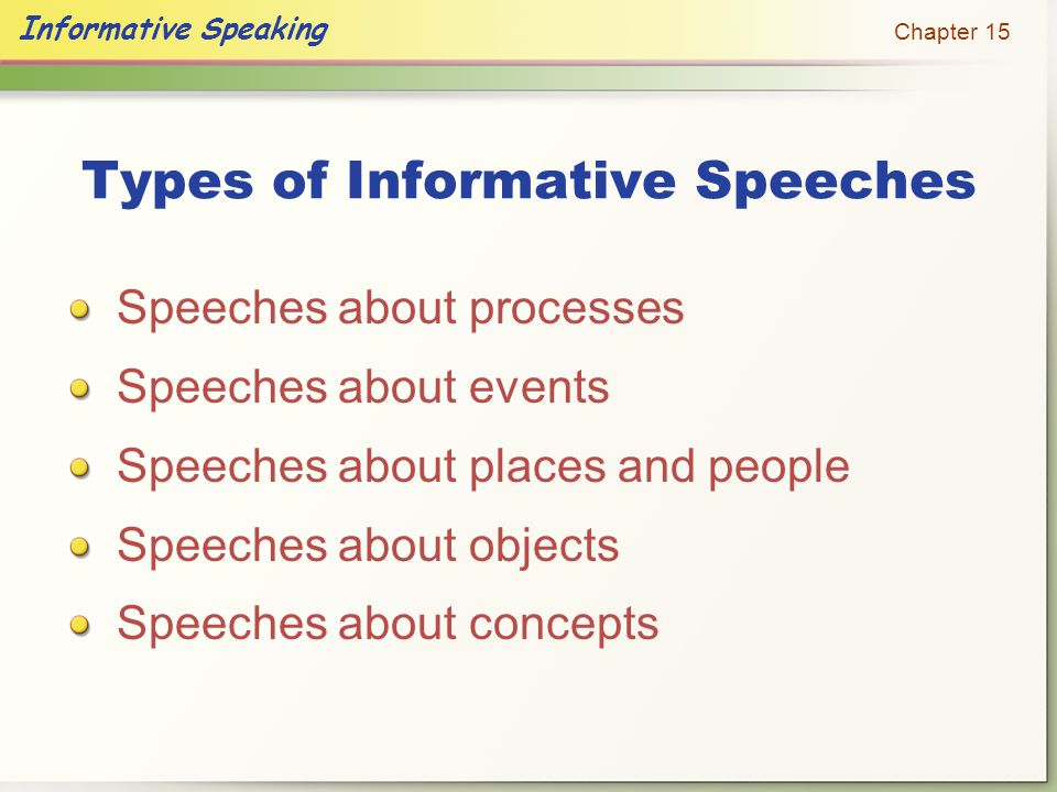 Informative Speech: Communicates Knowledge And Understanding About