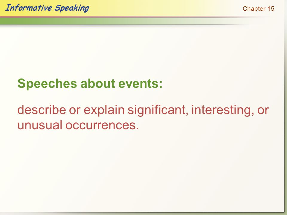 Speeches about events: