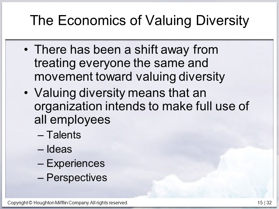 The Economics of Valuing Diversity