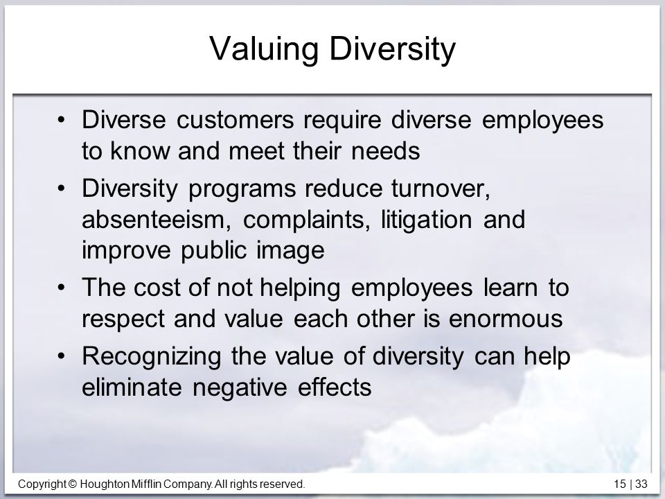 Valuing Diversity Diverse customers require diverse employees to know and meet their needs.