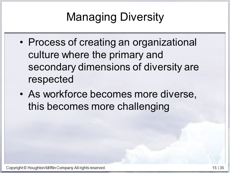 Managing Diversity Process of creating an organizational culture where the primary and secondary dimensions of diversity are respected.