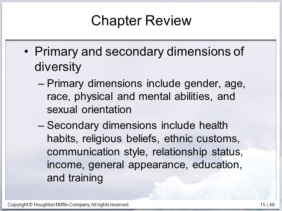 Chapter Review Primary and secondary dimensions of diversity
