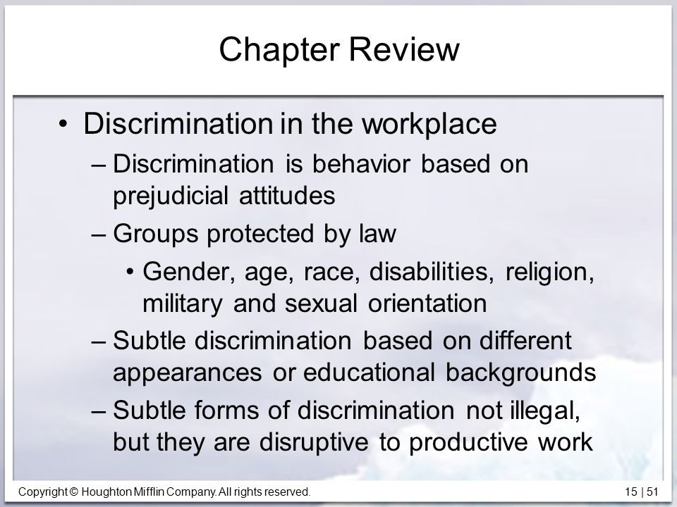 Chapter Review Discrimination in the workplace