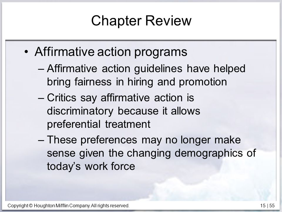 Chapter Review Affirmative action programs