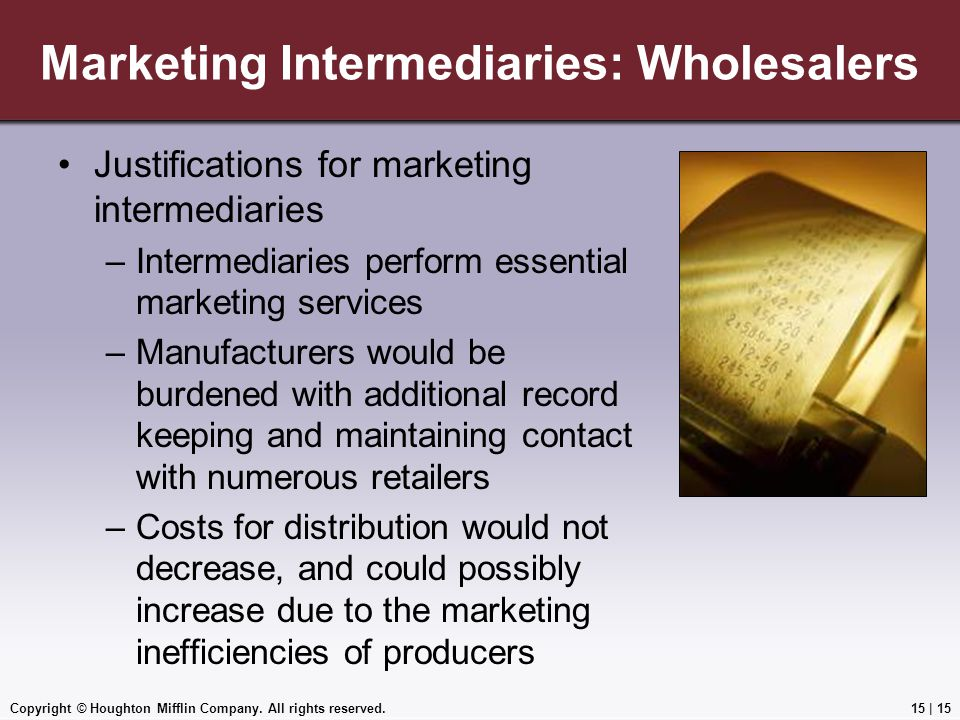 Marketing Intermediaries: Wholesalers