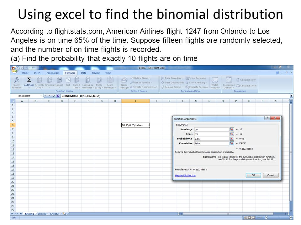 Using excel to find the binomial distribution