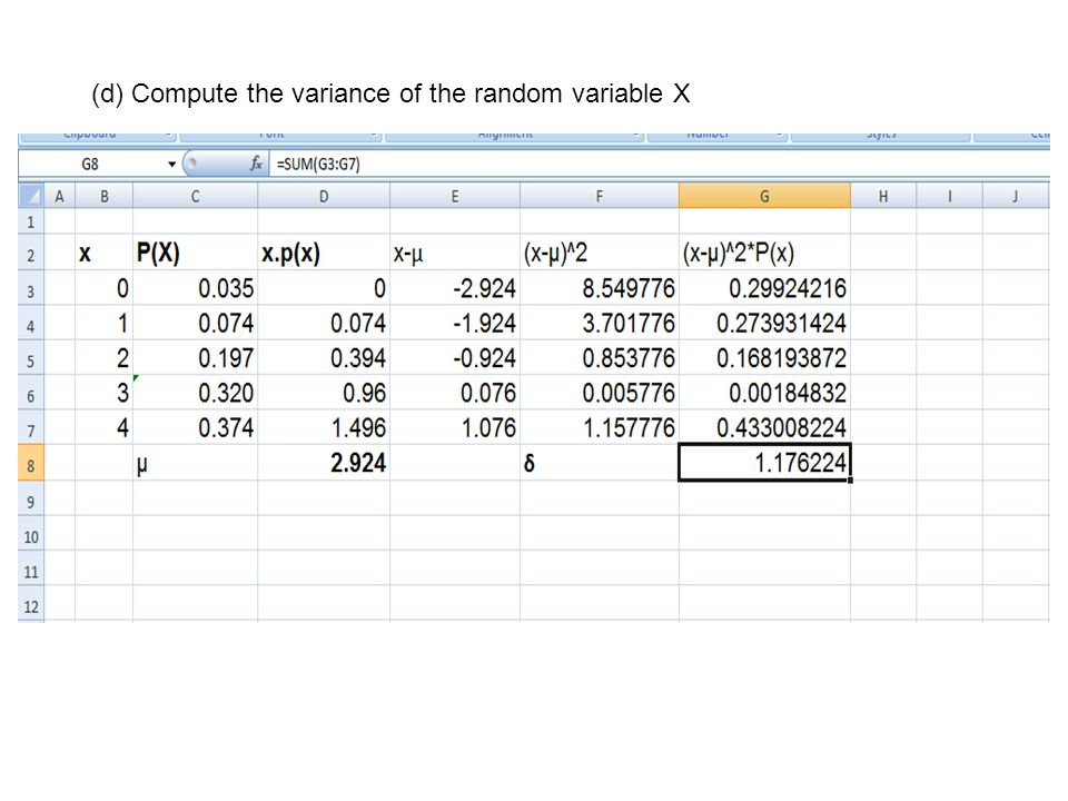 (d) Compute the variance of the random variable X