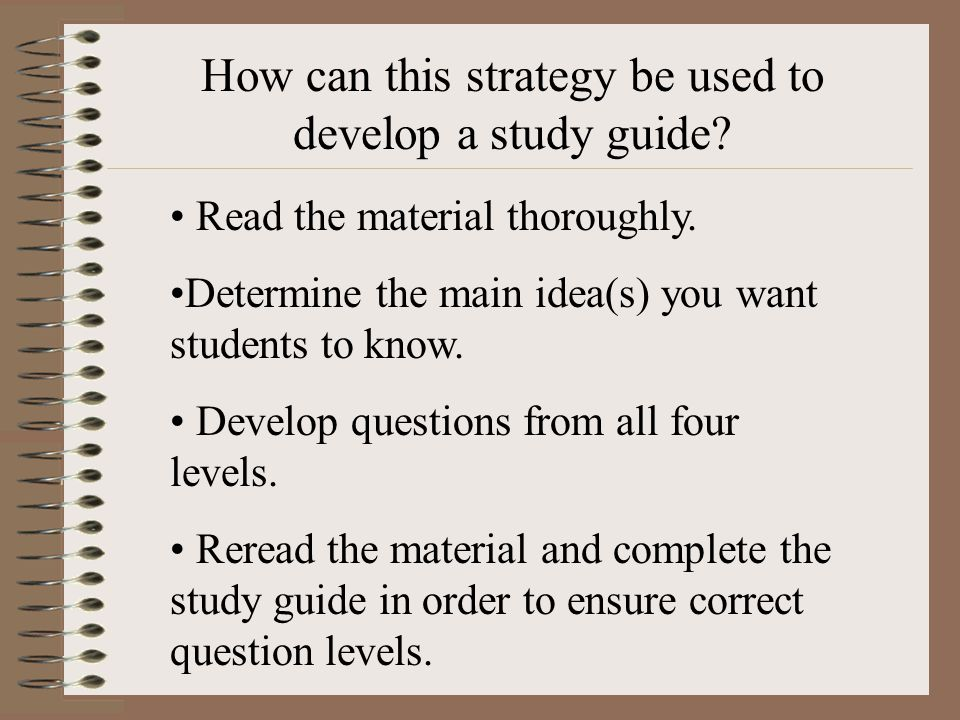 How can this strategy be used to develop a study guide