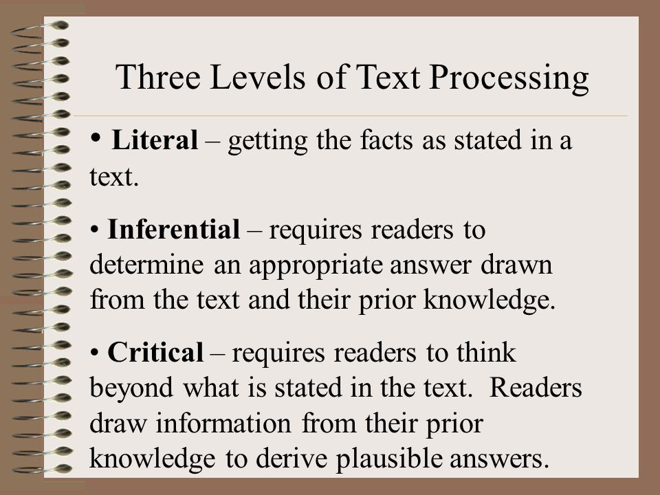 Three Levels of Text Processing