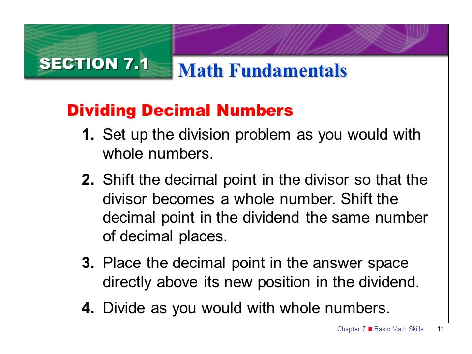 Math Fundamentals SECTION 7.1 Dividing Decimal Numbers