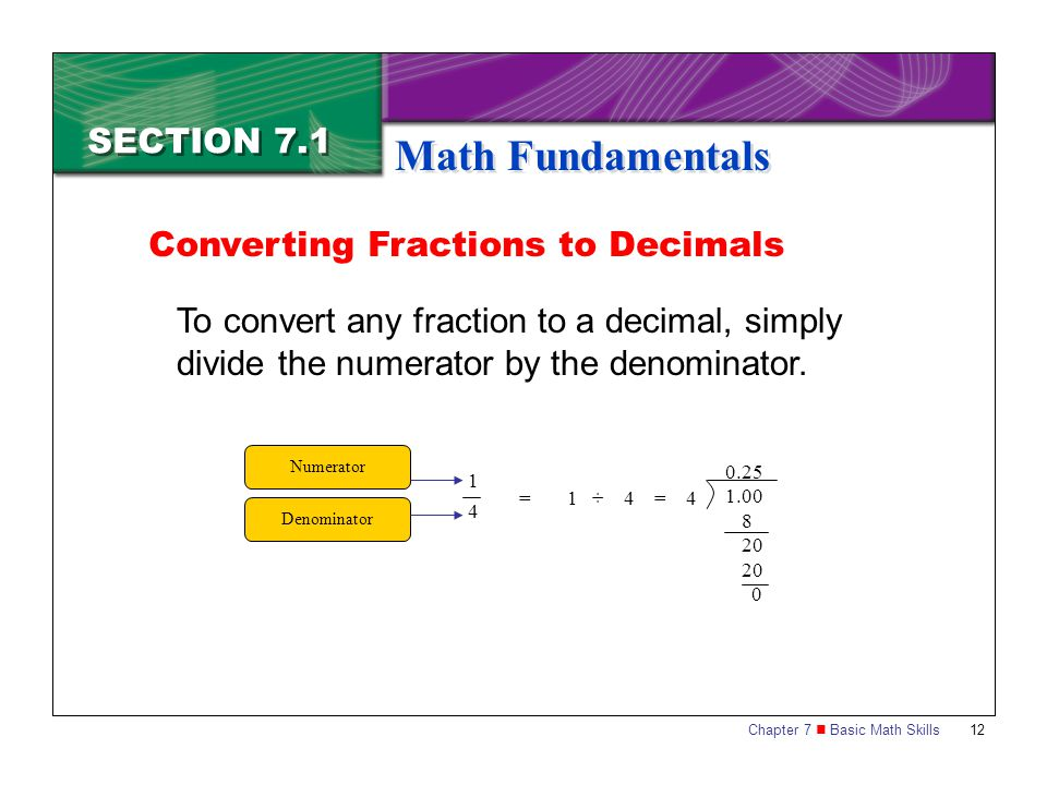 Math Fundamentals SECTION 7.1 Converting Fractions to Decimals