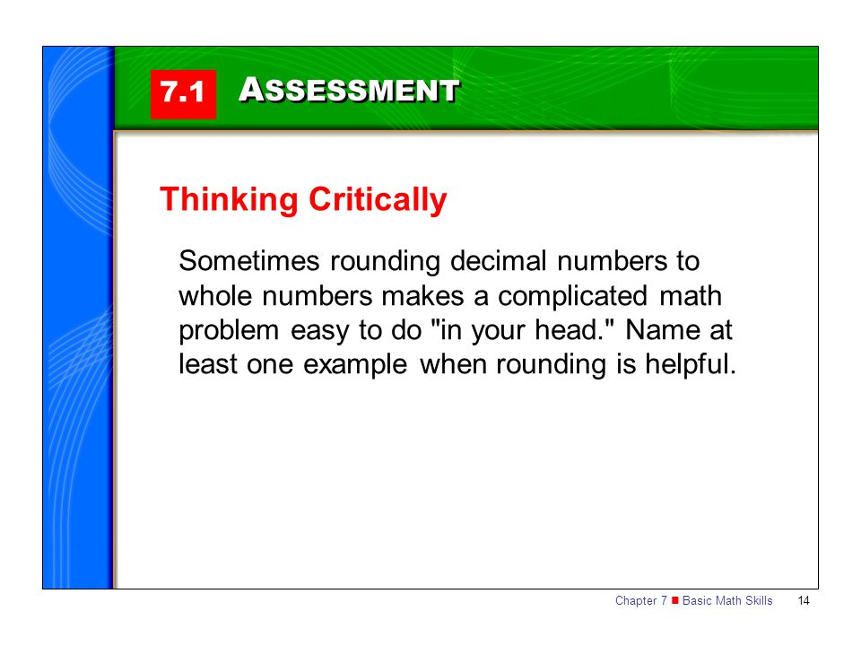 ASSESSMENT Thinking Critically 7.1