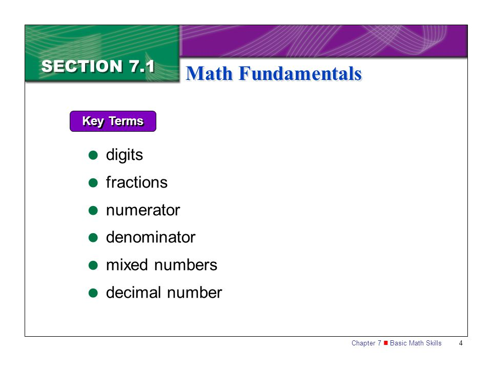 Math Fundamentals SECTION 7.1 digits fractions numerator denominator