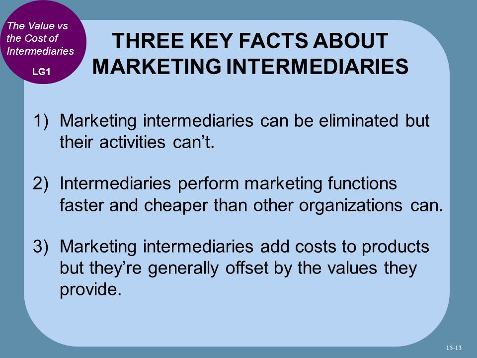 THREE KEY FACTS ABOUT MARKETING INTERMEDIARIES