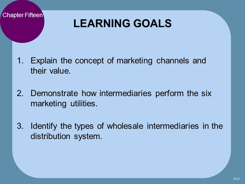 LEARNING GOALS Chapter Fifteen. Explain the concept of marketing channels and their value.