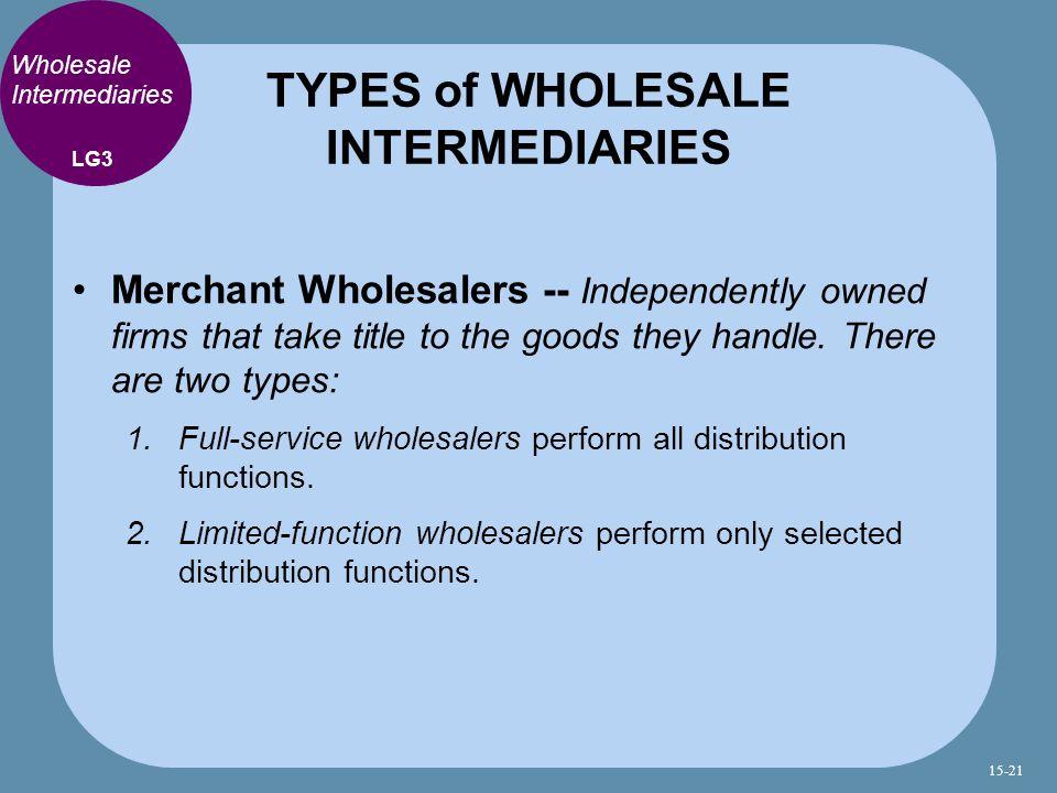 TYPES of WHOLESALE INTERMEDIARIES