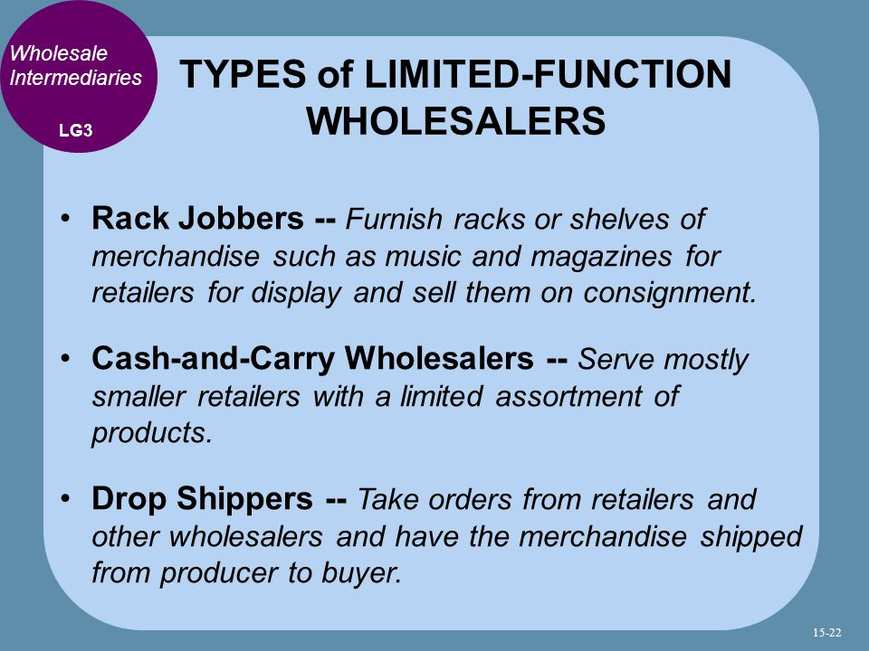 TYPES of LIMITED-FUNCTION WHOLESALERS
