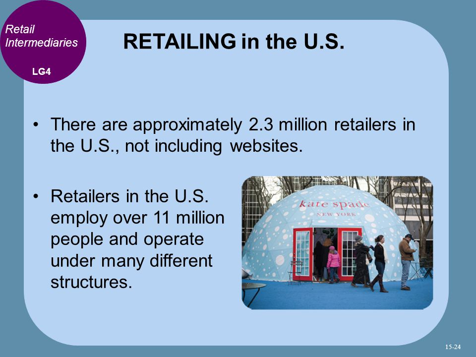 RETAILING in the U.S. Retail Intermediaries. LG4. There are approximately 2.3 million retailers in the U.S., not including websites.
