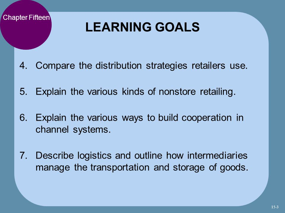 LEARNING GOALS Compare the distribution strategies retailers use.