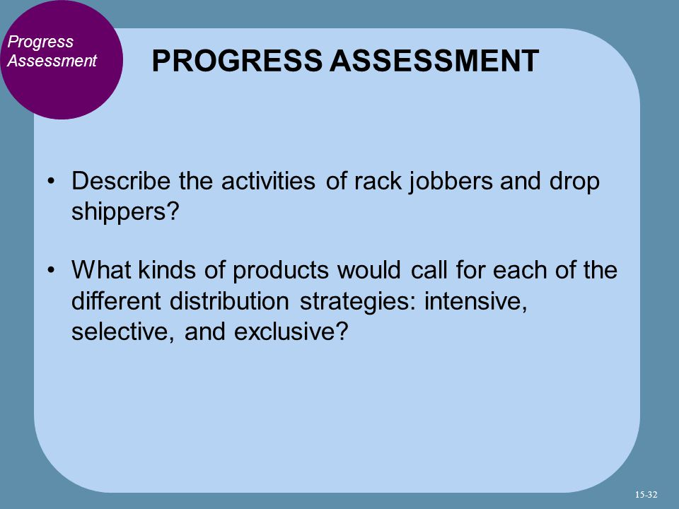 PROGRESS ASSESSMENT Progress Assessment. Describe the activities of rack jobbers and drop shippers