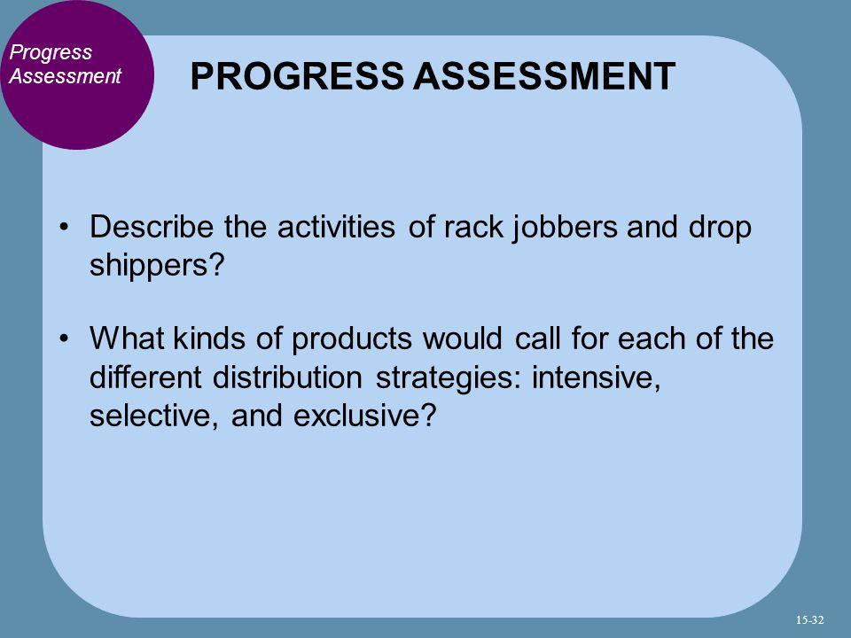 PROGRESS ASSESSMENT Progress Assessment. Describe the activities of rack jobbers and drop shippers