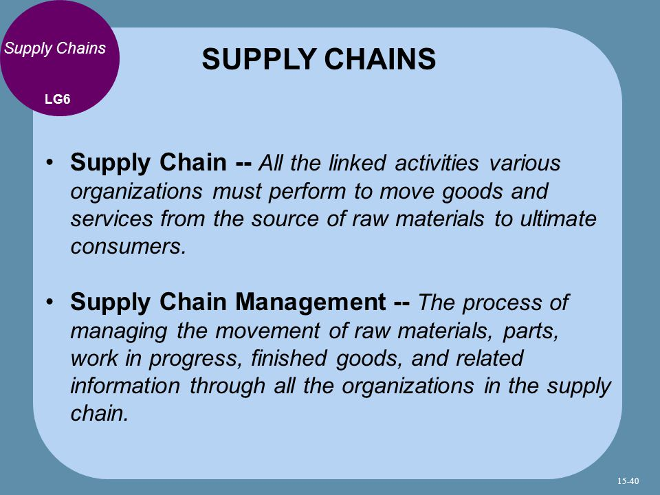 SUPPLY CHAINS Supply Chains. LG6.